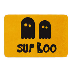 """KESS InHouse - KESS Original """"Sup Boo"""" Memory Foam Bath Mat (17"""" x 24"""") - These super absorbent bath mats will add comfort and style to your bathroom. These memory foam mats will feel like you are in a spa every time you step out of the shower. Available in two sizes, 17"""" x 24"""" and 24"""" x 36"""", with a .5"""" thickness and non skid backing, these will fit every style of bathroom. Add comfort like never before in front of your vanity, sink, bathtub, shower or even laundry room. Machine wash cold, gentle cycle, tumble dry low or lay flat to dry. Printed on single side."""