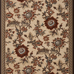 "Concord Global - Concord Global Milano Flower Valley Beige Beige Floral 8'2"" x 10'6"" Rug (57915) - This collection has a broad range of contemporary to traditional patterns. Made of soft olefin and chenille yarns giving the designs a unique texture and feel. Constructed with the latest colors in fashion, Milano will fit with any d�cor in a room or an office."