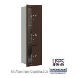 Salsbury Industries - 4C Horizontal Mailbox - 15 Door High Unit (55 Inches) - Single Column - 4C Horizontal Mailbox - 15 Door High Unit (55 Inches) - Single Column - Stand-Alone Parcel Locker - 3 PL5s - Bronze - Front Loading - USPS Access