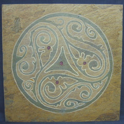 "Art Gallery Exhibition- ""Free Spirit 2"" Artisan Tile: Corporate Conference Cente - ""Free Spirit 2""- symbolizing energy and vitality. Hand carved artisan stone with natural dyes and oils used to accentuate the design and bring out colors inherent in the stone."