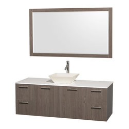 "Wyndham - Amare 60"" Wall Single Vanity Set in Grey Oak with White Stone Top & Bone Procela - Modern clean lines and a truly elegant design aesthetic meet affordability in the Wyndham Collection Amare Vanity. Available with green glass or pure white man-made stone counters, and featuring soft close door hinges and drawer glides, you'll never hear a noisy door again! Meticulously finished with brushed Chrome hardware, the attention to detail on this elegant contemporary vanity is unrivalled.; Constructed of beautiful veneers over the highest grade MDF, engineered for durability, and to prevent warping and last a lifetime; 8-stage preparation, veneering and finishing process; Highly water-resistant low V.O.C. sealed finish; Unique and striking contemporary design; Modern Wall-Mount Design; Deep Doweled Drawers; Fully-extending soft-close drawer slides; Counter options include Green Glass, White Man-Made Stone, and Caesarstone (many colors available); Single-hole faucet mount; Available with Porcelain, Granite, and Marble vessel sink(s); Single-hole faucet mount; Faucet(s) not included; Mirror included; Metal exterior hardware with brushed chrome finish; Two (2) functional doors; Two (4) functional Drawers; Plenty of storage space; Includes drain assemblies and P-traps for easy assembly; Minimal assembly required; Weight: 302 lbs; Dimensions: Vanity: 60""W x 22-1/4""D x 21-1/4""H Sink adds 5 to 5 1/2"" to height; Mirror(s): 71""L x 36""D x 3""H"