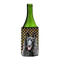 Caroline's Treasures - Belgian Sheepdog Candy Corn Halloween Portrait Wine Bottle Koozie Hugger - Belgian Sheepdog Candy Corn Halloween Portrait Wine Bottle Koozie Hugger Fits 750 ml. wine or other beverage bottles. Fits 24 oz. cans or pint bottles. Great collapsible koozie for large cans of beer, Energy Drinks or large Iced Tea beverages. Great to keep track of your beverage and add a bit of flair to a gathering. Wash the hugger in your washing machine. Design will not come off.