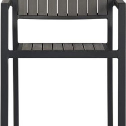 Alfresco Grey Bar Stool - Alfresco fools the eye with the look of real wood in easy-care, easy-to-afford Parsons-style dining. Stackable barstools have slatted faux wood seats and backs in a warm grey finish with black-powdercoated aluminum frames.