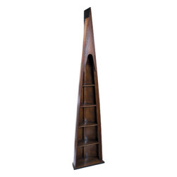 "Inviting Home - Man-of-Eight Boat Bookcase - Man-of-Eight boat bookcase 18-3/8"" x 9-3/4"" x 85-3/8""H This boat is an exact replica of a late 19th C. prow of a man-of-eight boat that once cut through the rippling waters of the inland Thames. An age-old hallowed tradition. Fraternities. Oxford Cambridge Yale Harvard. Racing eights. An Olympic sport upper class academic admired by the privileged accessible to the very smart and highly athletic. These long narrow and fast wooden racers were cut up in sections when retired. Transformed into bookcases they lined the halls and bars of fraternities the world over. Oars were painted with crests and races names and dates and wall-hung."