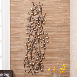 Upton Home - Upton Home Champagne Metal Wall Sculpture - This bubbly Upton Home Champagne metal wall sculpture features soft gold spherical designs of varied sizes an the illusion of movement. This wall sculpture can be hung horizontally or vertically to fit your design needs, and blends seamlessly in any room.