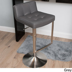 Matrix - Looper Tufted Low-back Adjustable-height Swivel Stool - This slick, stylish barstool features a modern construction with a fabulous tufted design for maximum comfort and style. Engineered to give you support without compromising artistry, this leatherette seat with gas lift is essential to your living space.