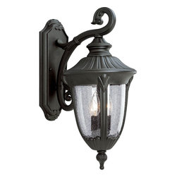 Progress Lighting - Progress Lighting Meridian Traditional Outdoor Wall Sconce X-13-2285P - Bring elegance and beauty to your home with this Progress Lighting Meridian Traditional Outdoor Wall Sconce. It has a cast aluminum frame in a sleek, black finish with a gently scrolled arm and panels of clear, seeded glass. It's a fantastic, two-light piece that's sure to take command of any space.