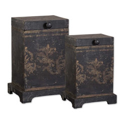 Uttermost - Melani Decorative Boxes, Set of 2 - Give your decor a rustic, ultra sophisticated look with these mango wood boxes atop your mantle or console table. These decorative boxes are perfectly antiqued, with aged black and gold hand painting by designer Billy Moon.