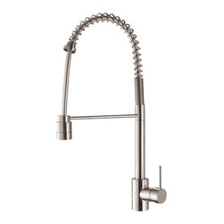Ruvati - Ruvati RVF1210ST Commercial Kitchen Faucet - This premium Ruvati kitchen faucet from the Cascada collection. The ceramic disc cartridge ensures drip-free functionality. The faucet can be installed into countertops up to two inches thick. Hot and cold water connection hoses are included.