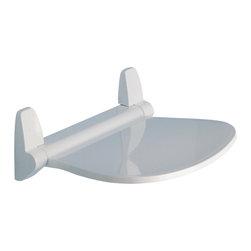 Gedy - Round White Shower Seat - Unique, trendy white tilt- up shower seat.