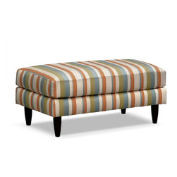 """Avenue Cocktail Ottoman - Arrive in Style. If your destination is up-to-date dcor with a touch of retro vibe, look no further than our Avenue collection. This coordinating cocktail ottoman can be used singly or in pairs for a versatile footrest, extra seating or as a serving surface. The sailing stripe fabric is done in alternating tones of cream, tangerine, avocado and sky blue, giving that extra element of stylish pep that says """"you've arrived."""""""