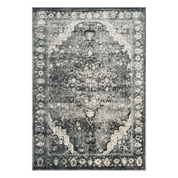 "Loloi Rugs - Loloi Rugs Elton Collection - Slate / Ivory, 2'-3"" x 3'-9"" - Designed to look like a modern version of yesterday's classics, the Elton Collection features intentionally distressed pattern that matches well with contemporary to transitional spaces. Elton is power loomed in Egypt of polypropylene and polyester for great durability and easy maintenance. Available in six sizes including a runner and a scatter."