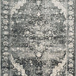 """Loloi Rugs - Loloi Rugs Elton Collection - Slate / Ivory, 2'-3"""" x 3'-9"""" - Designed to look like a modern version of yesterday's classics, the Elton Collection features intentionally distressed pattern that matches well with contemporary to transitional spaces. Elton is power loomed in Egypt of polypropylene and polyester for great durability and easy maintenance. Available in six sizes including a runner and a scatter."""
