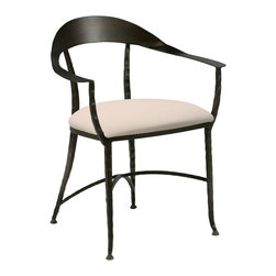 Charleston Forge - Charleston Forge Hudson Wrap Chair - That's a Wrap!Wrap your home up in some stunning style with Charleston Forge's Hudson Wrap Chair. Made by expert craftspeople in the USA, this rugged yet elegant chair features a textured steel frame and a metal-ribbon back that wraps from arm to arm. Use a pair to complete a cozy seating area in old-world style, or let it add a rustic-chic touch to your transitional living area.Handmade to order in the USAThis special-order item is just that: made especially for you. We unfortunately cannot accept returns on custom merchandise