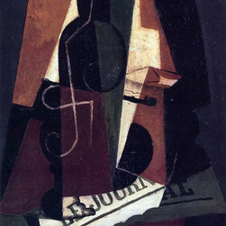 """Juan Gris Bottle and Glass - 16"""" x 24"""" Premium Archival Print - 16"""" x 24"""" Juan Gris Bottle and Glass premium archival print reproduced to meet museum quality standards. Our museum quality archival prints are produced using high-precision print technology for a more accurate reproduction printed on high quality, heavyweight matte presentation paper with fade-resistant, archival inks. Our progressive business model allows us to offer works of art to you at the best wholesale pricing, significantly less than art gallery prices, affordable to all. This line of artwork is produced with extra white border space (if you choose to have it framed, for your framer to work with to frame properly or utilize a larger mat and/or frame).  We present a comprehensive collection of exceptional art reproductions byJuan Gris."""