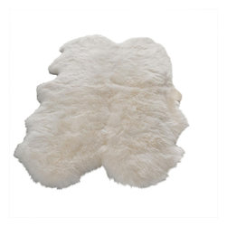 Safavieh - Sheepskin Shag White Area Rug SHS121A - 3' x 5' - Sheepskin shag rug is made from an authentic sheepskin hide and adds warm and personality to any room.