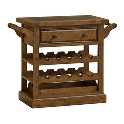 Hillsdale Furniture - Hillsdale Tuscan Retreat Drink Trolley Cart w/ Granite Top & Casters in Antique - Tuscan Retreat Drink Trolley Cart is an authentic artisan interpretation of old world and cottage furniture. It is crafted from new and restored timbers to give it the appearance of a century old treasure. The finish is hand prepared from the sanding and scrapping to the final steps. Every nick, knot, nail hole patch, and seasoned crack add character, while the granite top surface provides excellent serving space and style. Featuring solid wood throughout, casters for ease of movement, one drawer and lower shelf for added storage, plus two wine racks that hold a total of 10 bottles, this piece is designed to give you years of enjoyment.