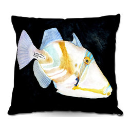 DiaNoche Designs - Pillow Woven Poplin from DiaNoche Designs by Marley Ungaro - Deep Sea Life- Trig - Toss this decorative pillow on any bed, sofa or chair, and add personality to your chic and stylish decor. Lay your head against your new art and relax! Made of woven Poly-Poplin.  Includes a cushy supportive pillow insert, zipped inside. Dye Sublimation printing adheres the ink to the material for long life and durability. Double Sided Print, Machine Washable, Product may vary slightly from image.