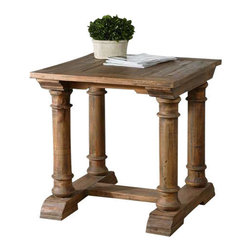 Uttermost Saturia Wooden End Table - Built of 100% reclaimed fir, the hand-turned columns and carved details showcase the natural beauty and time-worn character of salvaged wood.  True to the unique history in each board, each piece will have its own slightly different shading, distress marks, and graining. Built of 100% reclaimed fir, the hand-turned columns and carved details showcase the natural beauty and timeworn character of salvaged wood. True to the unique history in each board, each piece will have its own slightly different shading, distress marks and graining.