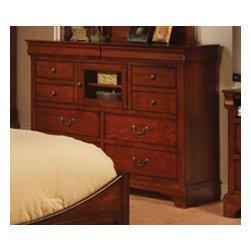 Winners Only - Renaissance 10 Drawer Dresser w Storage - Ten drawers. Dresser with glass door. Two shelves for DVD and VCR storage. 58 in. W x 18 in. D x 44 in. H (164 lbs.)