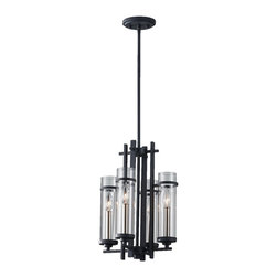 Murray Feiss - 4 Ethan Wrought Iron 4 Light Mini Chandelier With Clear Glass Shades - The Ethan lighting collection is a contemporary take on the strong verticals and horizontals of the elegantly simple, Asian influences of the Mission style.  The dark Antique Forged Iron finish contrasts dramatically with the Brushed Steel candle tubes and sleek Clear glass surrounds, which ingenuously can all be removed and run through the dishwasher to keep them sparkling clear.