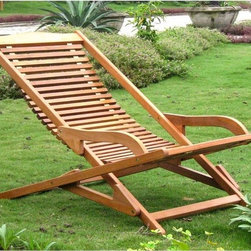 International Caravan - International Caravan Royal Tahiti Yellow Balau Hardwood Lounge Chair - With its laid-back look and folding design,this hardwood outdoor lounge chair will make you feel like you are on an exotic beach vacation right in your own backyard. Its folding design makes it easy to transport from your patio to your sun room.