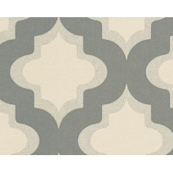 Wallpaper Direct - Kasbah Espresso by Clarke & Clarke - This geometric pattern has a touch of exotic modern flair. More subtle in this gray and cream palette, it also comes in a bold pink and purple colorway if you really want to amp things up.