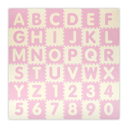 Alessco - Baby Pink A-Z & 0-9 Interlocking Floor Mat - 6.5 x 6.5 - Baby Pink A-Z & 0-9 Interlocking Floor Mat - 6.5 x 6.5