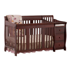Storkcraft - Portofino Fixed Side Convertible Crib Changer - The beautiful solid construction of the Portofino 4 in 1 Fixed Side Convertible Crib Changer by Stork Craft, with its magical sleigh design, makes this a royal centerpiece for your nursery. All four sides are stationary and include an adjustable three position mattress support base to add to the security and stability of this versatile crib. Designed for multiple stages of life. The attached changer is designed with safety in mind, with an extra deep surface for added security and stability while changing your baby. Set-up this extravagant piece effortlessly with it's easy to follow directions into a crib that's perfect for your babies' sweet, delicate slumber. Complete your nursery look by adding complimentary accessories by Stork Craft. Features: -All four sides are stationary to add to the security and stability.-Converts from a full size crib to a toddler bed, to a daybed, to a full-size bed (Full size bed rails NOT included).-Bed rails not included.-Mattress not included.-Adjustable three position mattress support base.-JPMA certified.-Includes waterproof vinyl change pad.-Stylish solid wood and wood product construction.-Non toxic, durable finishes.-Portofino collection.-Collection: Portofino.-Distressed: No.Dimensions: -43'' H x 32.5'' W x 71'' D, 125 lbs.-Overall Product Weight: 125 lbs.Warranty: -1 Year limited manufacturer's warranty.