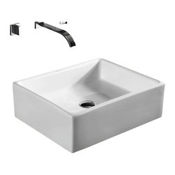 Caracalla - Square White Ceramic Vessel Bathroom Sink, No Hole - Contemporary style, square white ceramic vessel bathroom Sink with no hole. Stylish above counter washbasin comes without overflow. Made in Italy by Caracalla.