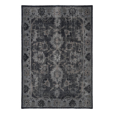 """Kaleen - Kaleen Restoration Collection RES02-02 4' x 6' Black - The Restoration collection puts the finishing touches on a classic reproduction for some of the most unique rugs in the world. Hand-knotted in India of 100% wool, each rug is intentionally distressed by hand-shearing for authenticity, over-dyed colors for beautiful style, and complete with the smallest little details for the perfect replica of a vintage antique rug.  A 100% natural """"green"""" product and completely free of any latex materials."""