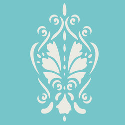 Stencil Ease - Island Motif Accent Stencil - Island Motif Accent Home Decor Stencil Contains: 1 - 8 x 10 Stencil Sheet Actual Size: 5.4 wide x 9.25 high These detailed laser-cut Accent Stencils can be used to embellish walls in bathrooms hallways bedrooms living rooms and more. They can also be used on tiles furniture lampshades and scrapbooking projectsAny paint can be used with these mylar stencils. This design was painted using the following Americana Acrylic Paint Color: 1 2oz MDA02002 White WashComplete kit comes with stencil paints and 1 THW0006 stencil brush