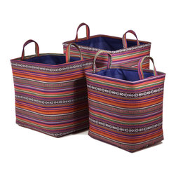 """Traders and Company - Colorful Nested Rectangle Fabric Hampers, Set of 3 - Lg = 18""""x14""""x18""""H - Aurora - Wake up any room with our colorful nested fabric hampers and baskets. Studry metal frame maintains the opening shape, and bright geometric patterns add a flash of color. Great for everyday storage around the home or in the kids room. Other patterns and shapes sold separately. Dimensions: L - 18""""L x 14""""W x 18""""H, M - 16""""L x 12""""W x 15.5""""H, S - 13.75""""L x 10""""W x 13.5""""H"""