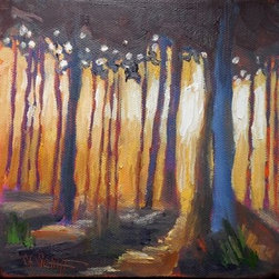 Into The Woods (Original) by Carol Schiff - I tried to capture that beautiful moment in time when the sun falls behind the trees, turning the landscape into a fairyland.