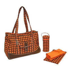 Kalencom Corporation - Kalencom Weekender Heavenly Dots Diaper Bag - Chocolate/Orange Multicolor - 280- - Shop for Diaper and Bottle Bags from Hayneedle.com! With a sassy orange dot pattern on a chocolate brown ground the Kalencom Week-Ender Diaper Bag - Heavenly Dots - Chocolate/Orange is the perfect travel bag for a weekend excursion. Open the zippered top to reveal a roomy interior that features a mesh lining with plenty of storage pockets. Two exterior pockets and comfortable shoulder straps have been added for your convenience. This diaper bag has a decorative buckle trim and stitching. It measures 17.5L x 8W x 13H inches and comes complete with a coordinating insulated bottle bag matching zippered pouch and large fold-out padded changing pad.About KalencomFounded in 1971 the Kalencom Corporation is a domestic and international manufacturer of fine products for children ... and parents. Featuring main headquarters and plant in New Orleans LA Kalencom distributes all over Northern and Southern America and Europe. Their products are made with care quality and innovation and designed to make you and your child's life safer as well as more organized. All Kalencom diaper bags are free from AZO phthalates DBP and BOP.
