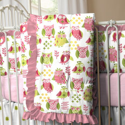 Girly Owl Crib Comforter with Ruffle - Front of comforter features Girly Owl, backed with Pink and Lime Stripe, and edged with Solid Almond Pink ruffled trim. Lullaby and goodnight! Our soft and cozy box-quilted comforter will keep your baby toasty warm on a chilly night, and makes for a great tummy-time mat by day.