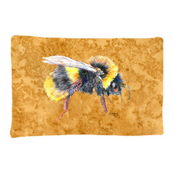Caroline's Treasures - Bee on Gold Fabric Standard Pillowcase Moisture Wicking Material - Standard White on back with artwork on the front of the pillowcase, 20.5 in w x 30 in. Nice jersy knit Moisture wicking material that wicks the moisture away from the head like a sports fabric (similar to Nike or Under Armour), breathable performance fabric makes for a nice sleeping experience and shows quality. Wash cold and dry medium. Fabric even gets softer as you wash it. No ironing required.