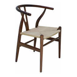 Kathy Kuo Home - Jace Ming Modern Global Bazaar Rattan American Walnut Dining Arm Chair - Like outstretched arms, the open, curved back of this modern, hard wood dining chair is warm and welcoming. The graceful American walnut frame holds a woven rattan seat that adds casual comfort to the arm chair. With an eclectic, round shape, the chair adds a Global Bazaar accent to your dining or living room.
