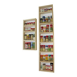 WG Wood Products - Easy-to-Mount Solid Pine Wood Wall and Door Spice Racks (Set of 2) - Spice things up in the kitchen or pantry with this conveniently designed wooden wall-mount spice rack. This spice rack can be mounted on a door or wall and will help you to organize your spices so that you can find what you need when you need it.