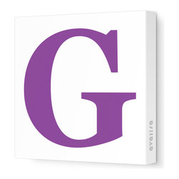 """Avalisa - Letter - Upper Case 'G' Stretched Wall Art, 28"""" x 28"""", Purple - Spell it out loud. These uppercase letters on stretched canvas would look wonderful in a nursery touting your little one's name, but don't stop there; they could work most anywhere in the home you'd like to add some playful text to the walls. Mix and match colors for a truly fun feel or stick to one color for a more uniform look."""