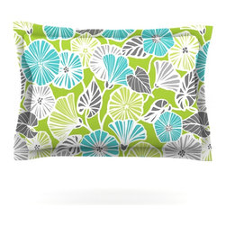 "Kess InHouse - Jacqueline Milton ""Trumpet Vine"" Aqua Green Pillow Sham (Cotton, 40"" x 20"") - Pairing your already chic duvet cover with playful pillow shams is the perfect way to tie your bedroom together. There are endless possibilities to feed your artistic palette with these imaginative pillow shams. It will looks so elegant you won't want ruin the masterpiece you have created when you go to bed. Not only are these pillow shams nice to look at they are also made from a high quality cotton blend. They are so soft that they will elevate your sleep up to level that is beyond Cloud 9. We always print our goods with the highest quality printing process in order to maintain the integrity of the art that you are adeptly displaying. This means that you won't have to worry about your art fading or your sham loosing it's freshness."