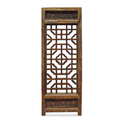 China Furniture and Arts - Antique Window Panel Shutter - Our hand carved intaglio hardwood window panel will no doubt supply its own special intrigue, whatever surface it decorates. It was once used in a traditional village house in the Zhe Jiang Province, China. Some are nearly 80-100 years old. Sizes are approximate. Please let us select for you. A metal hanger is included.