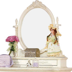 Lea Industries - Lea Jessica McClintock Bureau Mirror in Antique White - If your best girl is the romantic type, bedeck her bedroom with this bureau mirror. It's delicately detailed with carvings throughout and painted antique white — the perfect piece for primping, preening and daydreaming.