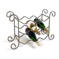 Grace Collection - 9 Bottle Iron Wine Rack (Gun Metal) - Finish: Gun MetalThis clever wrought iron wine rack can hold nine bottles and would be perfect for behind the counter storage where space is limited or for when times are busy!  Its sturdy frame comes in a variety of delightful finishes which could be matched to compliment your existing color scheme!  Ideal for display you can keep popular vintages to hand with ease!  Hop from Stellenbosch to Napa to Victoria to  Ribero del Duero without leaving your cherished sipping area with your richly crafted Wine Rack, an exceptional room accessory to invigorate your home's décor.  Sturdy storage for nine bottles of your favorite wine with the ultimate in beautiful design elements. * Wrought iron construction. Many metal finish options available. 21W x 8D x 17H in.. Weight: 9 lbs.