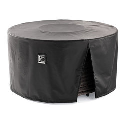 """Frontgate - Pasadena Fire Pit Table Cover - Gas-fueled fire table. Handcrafted porcelain tile top. All-weather bronze wicker base. 30,000 BTUs on low; 40,000 BTUs on high. Push-button ignition. Friends and family will enjoy spending hours around our beautiful Pasadena Fire Table. The handcrafted porcelain top and all-weather wicker base complement a variety of outdoor collections, and the 44"""" wide rim places cocktails and plates of appetizers within easy reach.Part of the Pasadena Collection.  .  .  . .  . Propane tank accessible through removable side panel . Fire glass included. Natural Gas conversion kit included . 20 lb. propane tank not included ."""