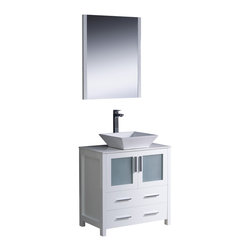 "Fresca - Fresca Torino 30"" White Vanity w/ Sink - Dimensions of vanity:  30""W x 18.13""D x 35.63""H. Dimensions of mirror:  25.5""W x 31.5""H x 1.25""D. Materials:  Plywood w/ veneer, ceramic sink. Single hole vessel faucet mount. P-trap, faucet, pop-up drain and installation hardware included.  Fresca is pleased to usher in a new age of customization with the introduction of its Torino line.  The frosted glass panels of the doors balance out the sleek and modern lines of Torino, making it fit perfectly in either town or country decor.  Available in the rich finishes of Espresso, Glossy White, Light Oak and Walnut Brown."