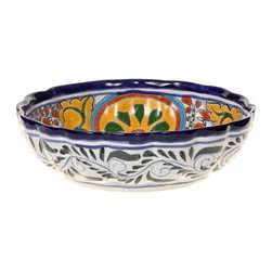 "Mexican Talavera - Mexican Talavera Scalloped 10"" Ceramic Bowl - Available in Four Designs, Design - Mexican Talavera Scalloped 10"" Ceramic Bowl"