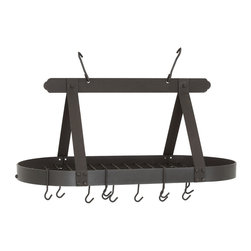 "36"" x 19"" x 15½"" Oval Graphite Pot Rack w/Grid ,16 Hooks, RTA - Graphite Classic Oval Hanging Pot Rack.  Includes grid, 16 hanging hooks &  mounting hardware.  Made of Heavy Gauge Steel, the graphite powder coat finish is easy to care for.  Assembly required."
