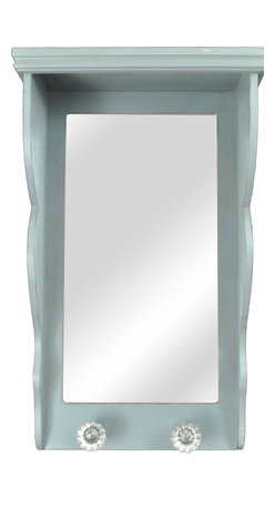 Enchante Accessories Inc - Distressed Wall Shelf with Rectangular Mirror and 2 Coat Hooks Light Blue - Wood wall shelf with a vertical mirror and two vintage-inspired glass knob coat hooks