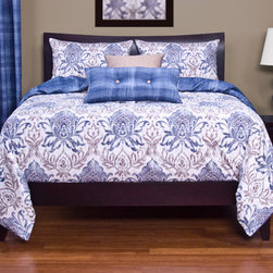 Siscovers - Genoa Blue and Cream Six Piece Queen Duvet Set - - Baroque motifs in colors  - Set Includes: Duvet - 94x98, Two Queen Shams - 30x20, One Decorative Pillow - 16x16, One Decorative Pillow - 26x14  - Inserts: Polyester  - Duvet Material: 100% Polyester  - Sham Material: 100% Polyester  - Pillow Material: 100% Polyester  - Additional Color: Sand  - Workmanship and materials for the life of the product. SIScovers cannot be responsible for normal fabric wear, sun damage, or damage caused by misuse  - Reversible Duvet and Shams  - Care Instruction: Machine Wash  - Made in USA of Fabric made in China Siscovers - GENO-XDUQN6